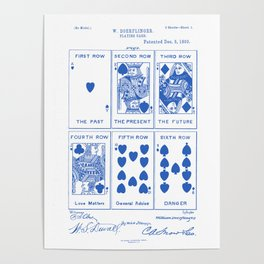 Poker Playing Cards Vintage Patent Hand Drawing Poster