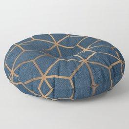 Dark Blue and Gold - Geometric Textured Cube Design Floor Pillow