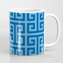 Denim and Bright Blue Greek Key Pattern Coffee Mug
