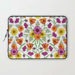 Wildflower Garden - Cosmos, California Poppies & Yellow Daisies for Spring Laptop Sleeve