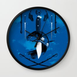 Carp and Melee Weapons Wall Clock