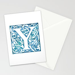 Letter Y Elegant Vintage Floral Letterpress Monogram Stationery Cards