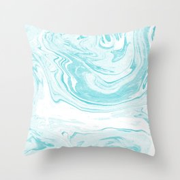 Giro - spilled ink abstract marble watercolor japanese painting marbling unique mint pastel  Throw Pillow