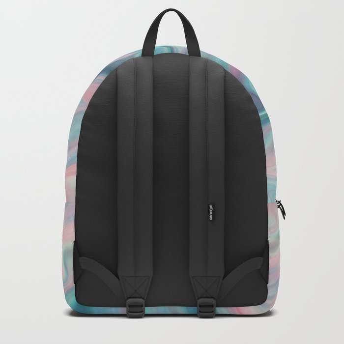 Colorful bright background in pink, turquoise and blue colours . Backpack