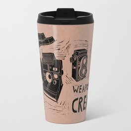 Weapons Of Mass Creation - Photography (blk on brown) Travel Mug