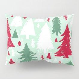 Mint, Red & Green Pine Trees Pillow Sham