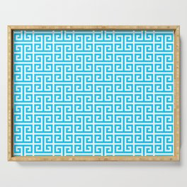 Aqua Blue and White Greek Key Pattern Serving Tray