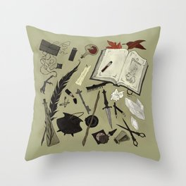 Witchy Materials Throw Pillow