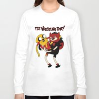 wrestling Long Sleeve T-shirts featuring It's Wrestling Time!  by Rad Recorder