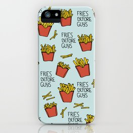 Fries before guys french fries fast food snack pattern design blue iPhone Case