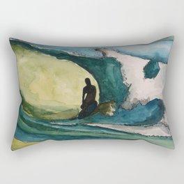Watercolor Surfer Rectangular Pillow