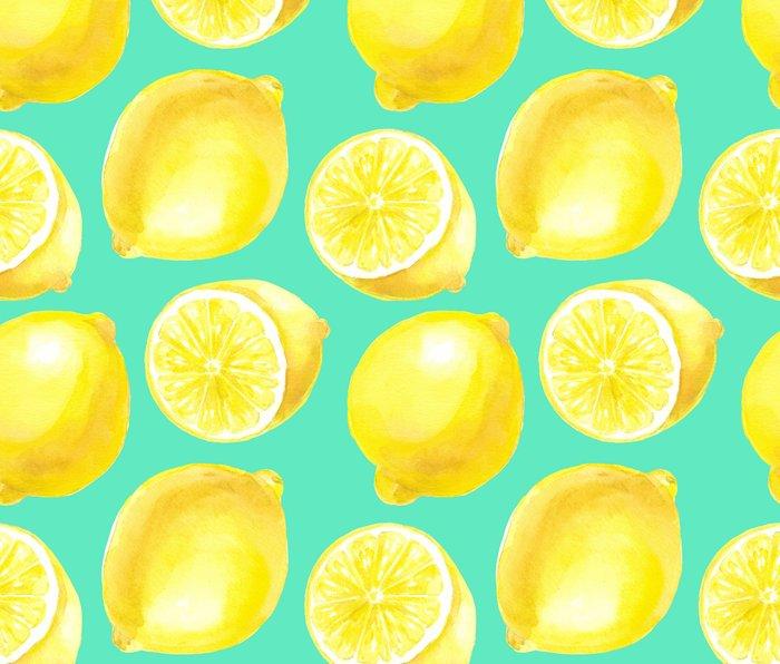 Watercolor lemons pattern Metal Travel Mug