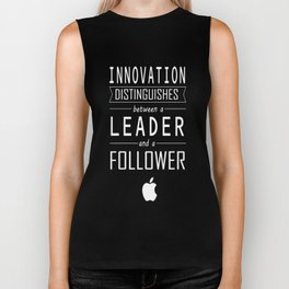 Innovation distinguishes between a leader and a follower Business Inspirational Quote Biker Tank