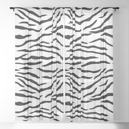 Black and White Tiger Stripes Sheer Curtain