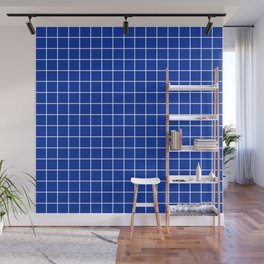 International Klein Blue - blue color - White Lines Grid Pattern Wall Mural
