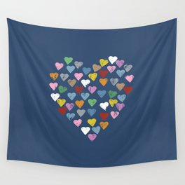 Distressed Hearts Heart Navy Wall Tapestry