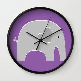 Purple Safari Elephant Wall Clock