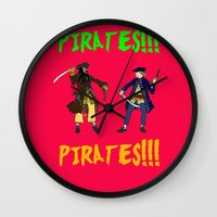 pirates Wall Clocks featuring Pirates!!! by Michael Keene