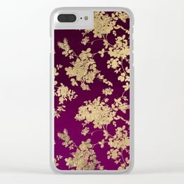 Chic faux gold burgundy ombre watercolor floral Clear iPhone Case
