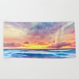Lonas planet stormy evening Beach Towel