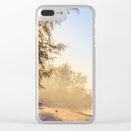 Misty morning on a river estuary, Trang province, Thailand Clear iPhone Case