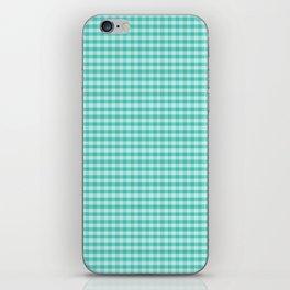 Teal Gingham Large Checks iPhone Skin