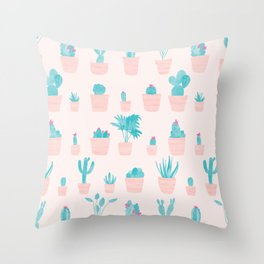 Cacti and Plants in Pots | Original / Peach Palette Throw Pillow