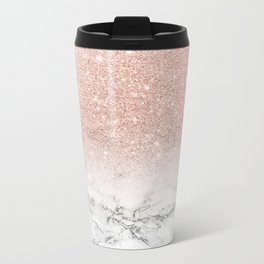 Modern faux rose gold pink glitter ombre white marble Metal Travel Mug