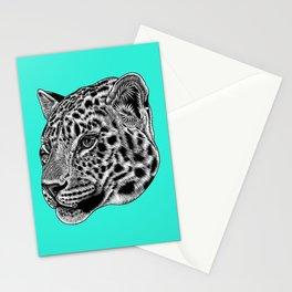 Amur leopard cub - turquoise - big cat Stationery Cards