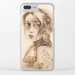 Mermaid Mask, Sepia Clear iPhone Case