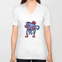 fez V-neck T-shirts featuring Zombie Monkey by John Schwegel