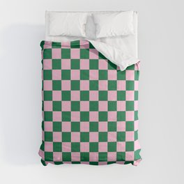 Cotton Candy Pink and Cadmium Green Checkerboard Comforters