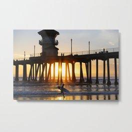Surfer Huntington Beach Pier Metal Print