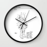nasa Wall Clocks featuring NASA Space Suit Patent  by Elegant Chaos Gallery