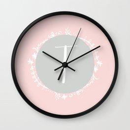 Garland Initial T - Grey Wall Clock
