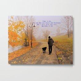 Walk in the Autumn Fog Metal Print