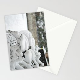 Bicycles Snowed Under Stationery Cards