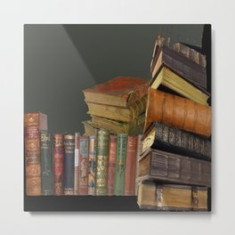 DECORATIVE  ANTIQUE LIBRARY, LEDGERS &  BOOKS ART Metal Print