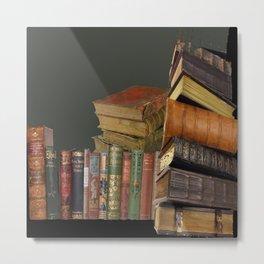 DECORATIVE  ANTIQUE LIBRARY, LEDGERS &  BOOKS ART Metal Print