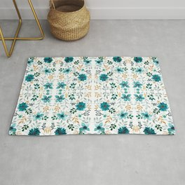 Blue and gold floral print Rug