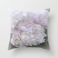 peonies Throw Pillows featuring Peonies by DuniStudioDesign