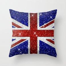 Glitters Shiny Sparkle Union Jack Flag Throw Pillow