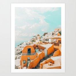 Santorini #travel #greece Art Print