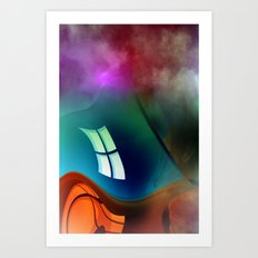 curved dimensions and exploding colors Art Print