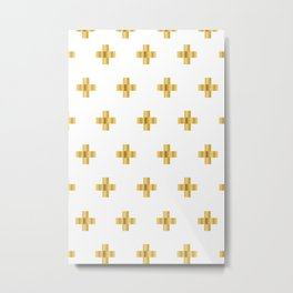 Cross Pattern White and Gold Metal Print