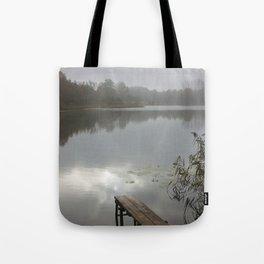 Mist on lake Tote Bag