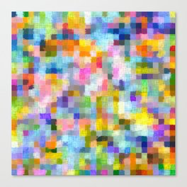 geometric square pixel pattern abstract in blue pink yellow orange Canvas Print