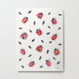 Lucky Ladybugs & Black Leaves Metal Print