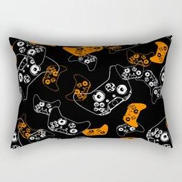 Video Game Orange on Black Rectangular Pillow