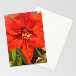 Lone Beauty — Red Daylily Blossom by L Diane Johnson Stationery Cards